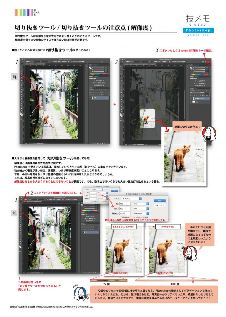 Photoshop_切り抜きツール:切り抜きツールの注意点(解像度)